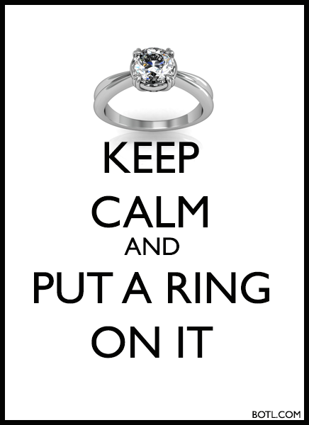 KEEP CALM AND PUT A RING ON IT BOTL.COM